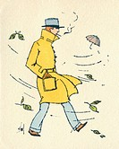 Business card design, depicting a man in a yellow coat walking along smoking on a windy autumn day.