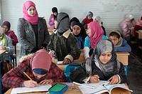 Al Za´atari, Al Mafraq region, Jordan, Middle-East. UNICEF provides primary education in the Jordan refugee camp Al Za´atari. Girls and boys are divid...