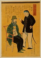 People from foreign lands - China, France. Japanese print shows a Frenchman holding a goblet seated on a chair, a Chinese man stands next to him; incl...