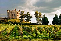 "France. Aquitaine. Gironde. Medieval castle of Chateau Monbadon, at Puisseguin, in the ""Cotes de Bordeaux"" area od the Bordeaux wines district."