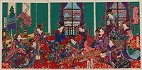 The house of Kinpeiro in New Yoshiwara. Print shows several women, in a large room, playing shamisens and a koto. Date 1871.