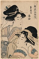 The Courtesan Tagasode of Tama-ya. Print shows Tagasode of Tama-ya, a courtesan, with many hairpins, and another woman. Date between 1805 and 1808.