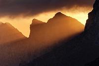 Tramuntana mountains at sunrise. Cavall Bernat mountains. Pollensa area. Majorca, Balearic islands, Spain