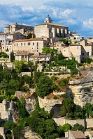 Overview of Gordes village, labeled The Most Beautiful Villages of France, Vaucluse department, Provence-Alpes-Cote d´Azur region. France.