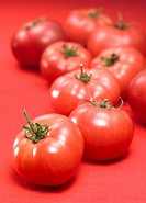 Tomatoes, close up, red background
