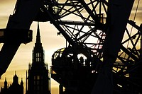 The London Eye seen against a sunset, in the heart of London, England, on a Winters evening.
