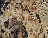 Crucifixion, by Emilian Artist, 14th Century, fresco. Italy, Lombardy, Mantua, Ducal palace. Detail. Group on the right, dignitaries and soldiers.