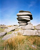 Stacked stones on rocky hillside, Bodmin Moor, Cornwall, UK