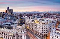 Aerial view of Metropolis building in Gran Vía, and panoramic view of Madrid, Spain.