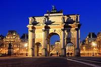 Arc de Triomphe du Carrousel and the Louvre at Dusk, Paris, France.