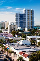 USA, Florida, Miami Beach, elevated view of Alton Road, morning.