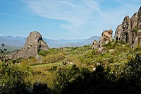 Sandstone rock pillars in Meteora with the Holy Monastery of St. Nicholas Anapausas on the right, Kastraki, Greece