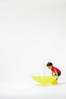 Boy and Yellow Umbrella