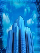 Image of skyscrapers against sky, computer graphic