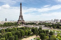 TROCADERO GARDENS, EIFFEL TOWER AND MONTPARNASSE TOWER SEEN FROM THE TERRACE OF THE CITY OF ARCHITECTURE AND HERITAGE, PALAIS DE CHAILLOT, 16TH ARROND...