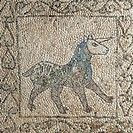 Unicorn, fragments of 13th century mosaic floors, Church of Saint John the Evangelist (UNESCO World Heritage List, 1996), founded in the 5th century, ...