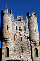 Shields of Arms of City of York, Plantaganet Royal Arms and lion´s head gargoyle on Mickelgate Bar grade 1 listed gatehouse in York city walls, north ...