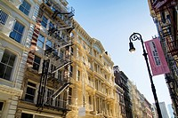 Cast Iron Landmarked Buildings with Exterior Fire Escapes, Green Street, Soho, Manhattan, New York City.