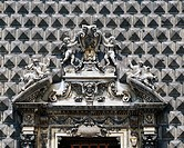 Detail from the Baroque entrance, Church of Gesu Nuovo (16th century), Naples, Campania, Italy.