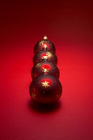 Red Christmas baubles.