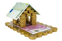 residential house built with euro coins