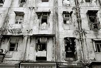 Slum housing in Mumbai (Bombay) in India.