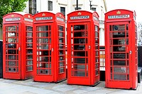 Red telephone boxes in the city of London, London region, England, United Kingdom