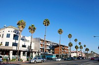Restaurants, shops and pedestrains along palm tree-lined, trendy Ocean Avenue in Santa Monica, California, USA.