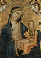 Madonna of Humility with Two Angels, by studio of Agnolo Gaddi, 14th Century, tempera on wood, 110 x 60 cm. Italy, Tuscany, Firenze, Bardini Museum. D...