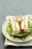 Cream cheese & smoked salmon terrine on courgette spaghetti
