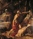 Saint Jerome Penitent (San Girolamo penitente), by Tiziano Vecellio known as Tiziano, 1552, 16th Century, oil on panel, 255 x 125 cm. Italy, Lombardy,...