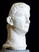 Marble head of Claudius uncovered in the Augusteo, Roselle, Tuscany, Italy. Roman Civilisation, 1st half of 1st century.  Grosseto, Museo Archeologico...