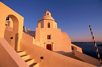 Church in Fira at dusk, Santorin, Cyclades, Greece
