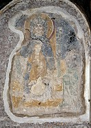 Virgin Mary with Child, by Unknown Artist, 9th Century, fresco. Italy, Lazio, Rome, Basilica of Saint Clemente. Whole artwork view. Fragment of a fres...