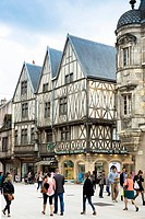 Traditional timber-frame Tudor style buildings in Rue de la Liberte in medieval Dijon in Burgundy region, France, Europe
