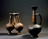 Amphoras used to contain analgesic substances with opioid components, ceramic machined on a lathe, height 11cm and 15cm from Cyprus. Egyptian Civilisa...