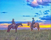 Oil painting, two mounted cowboys at dawn.
