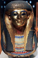 Funerary mask of Thuia, from the Tomb of Yuia and Thuia, Valley of the Kings, Egypt. Egyptian civilisation, New Kingdom, Dynasty XVIII.  Cairo, Egypti...