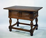 Table for money changers in carved oak. Netherlands, 17th century.  Amsterdam, Rijksmuseum (Art Museum)