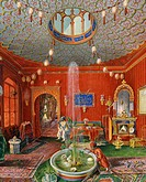 The Oriental room in Villa Lazarovich, Trieste residence of Maximilian of Habsburg (1832-1867), tempera by Germano Prosdocimi, 1854. 19th century. Det...