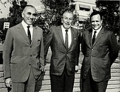 Giorgio Mondadori with Mario Formenton and Walt Disney. The Italian publisher Giorgio Mondadori posing with the vice-president of his publishing house...