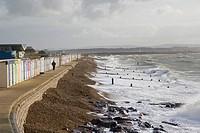 Sea coast with beach huts, Milford on Sea, Hampshire, South England, UK.