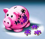 Illustrative image of jigsaw pieces fallen from piggy bank representing payment of EMI.
