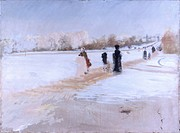 Bois de Boulogne Road (Avenue de Bois de Boulogne), by Giuseppe De Nittis, 19th Century. Italy, Puglia, Barletta, Giuseppe De Nittis Collection. Whole...