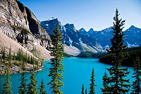 Moraine Lake, near Lake Louise in the Canadian Rocky Mountains.