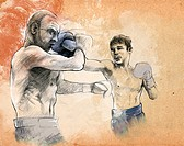 Illustrative image of two boxers fighting.