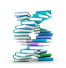 Artwork of books forming a DNA (deoxyribonucleic acid) helix, genetics concept.