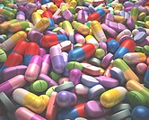 Artwork of various pills, tablets and health supplements.