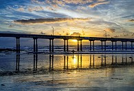 Ocean Beach Pier with vibrant sunset. San Diego, California, United States.