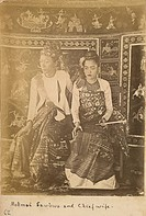 Mokmai Mawk Mai Sawbwa and chief wife full-length seated portrait of Sow Kun Mon (b. c. 1861), Sawbwa of Mauk Mai from 1887, with his half-sister and ...